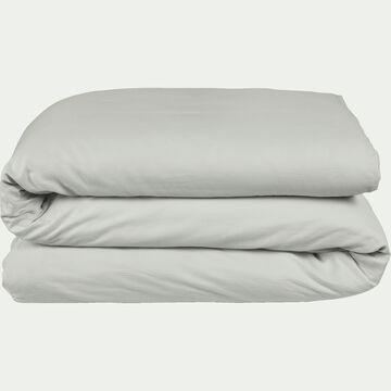 Housse de couette rayée en satin de coton - gris borie 260x240cm-SANTIS