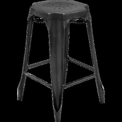Tabouret de bar vintage en métal gris anthracite - H66cm-INDUS