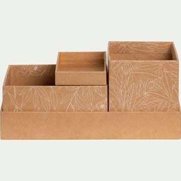 Organiseur en carton à motif floral - 4 pièces-FLEUR D ORANGER