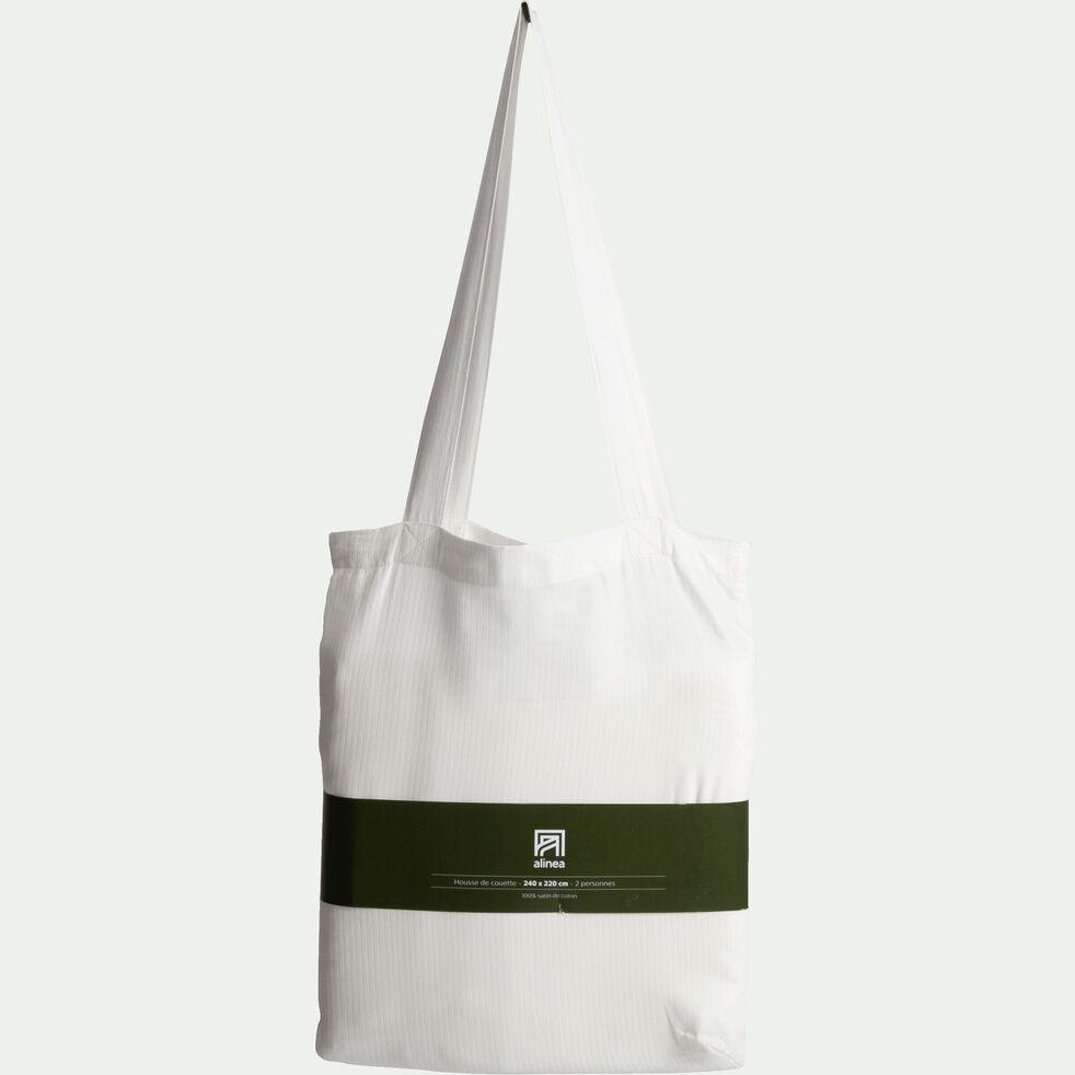 Housse de couette rayée en satin de coton - blanc capelan 240x220cm-SANTIS