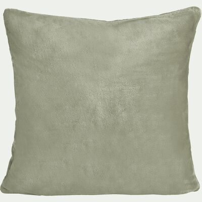 Housse de coussin effet polaire en polyester - vert olivier 65x65cm-ROBIN