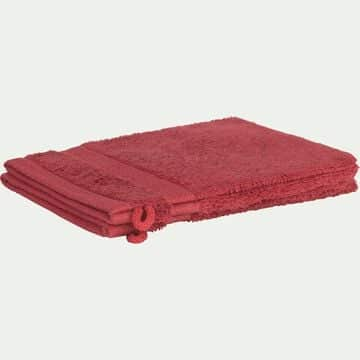 Lot de 2 gants de toilette en coton peigné - rouge arbouse-AZUR