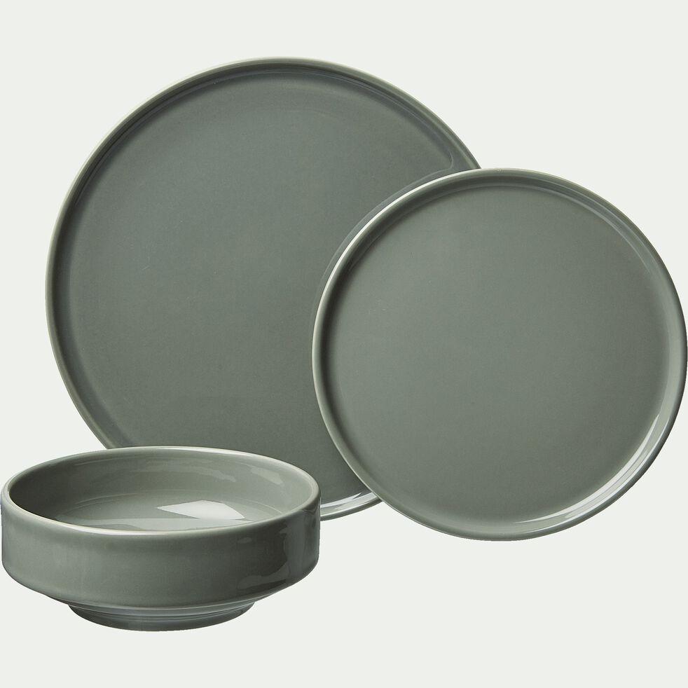 Assiette à dessert en faïence vert cèdre D21cm-VADIM