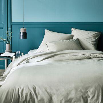 Linge de lit en coton vert olivier-CALANQUES