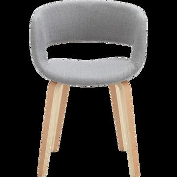 Chaise en tissu gris avec accoudoirs-JOYAU