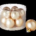 10 boules en verre doré brillant et mat D6cm-EMAIL