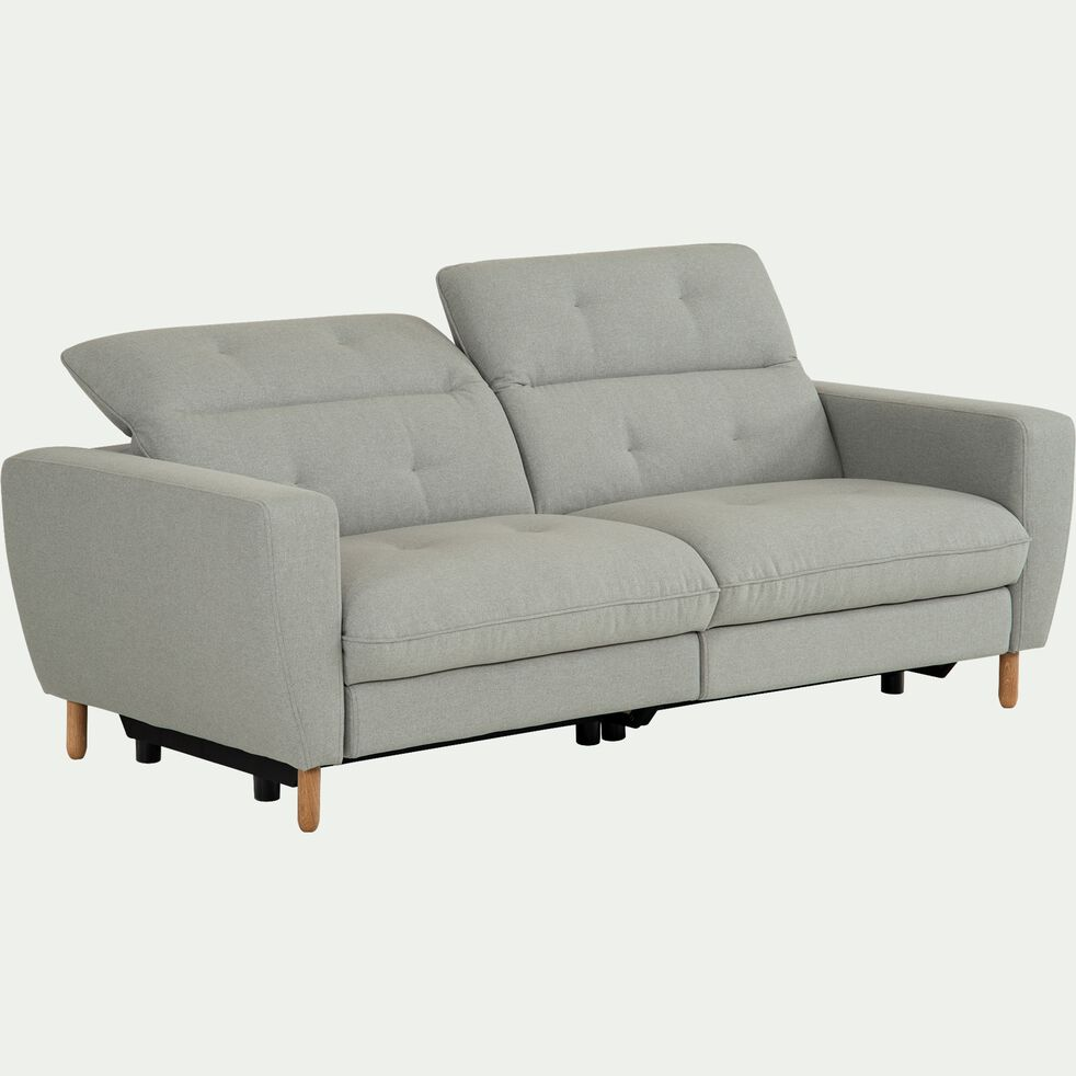 Canapé fixe relax 3 places en tissu avec têtière réglable - gris clair-ODYS