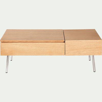 Table basse rectangulaire plaqué chêne avec plateau relevable-GRIMAUD