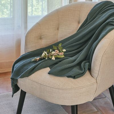 Plaid effet tricot en coton - vert cèdre 130x170cm-VERDON