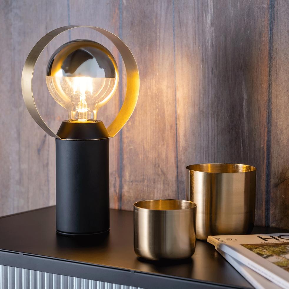 Lampe en métal noir H26,5cm-ARA