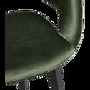 Chaise en velours vert cèdre avec accoudoirs-JOYAU