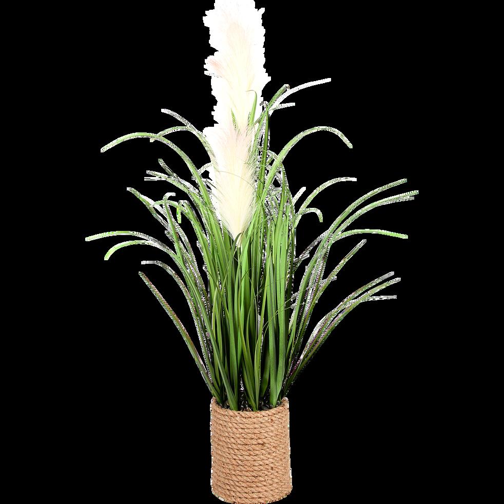 Herbes graminées et plumeaux artificiels en pot H80cm-PLUMEAU