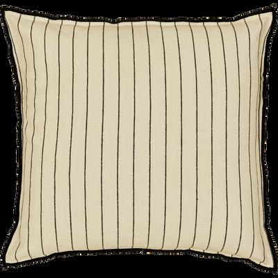 Coussin brodé en coton noir et blanc 45x45 cm-BADIANE