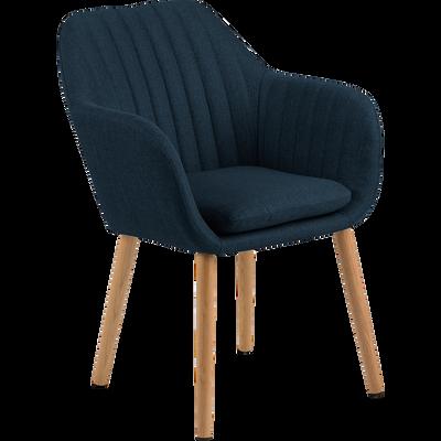 Chaise capitonnée en tissu bleu marine avec accoudoirs-SHELL