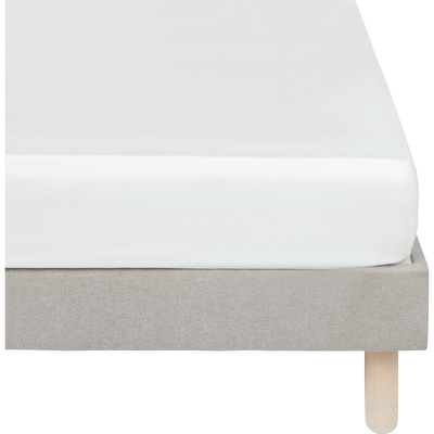 Drap housse en satin Blanc capelan rayé - 140x200 cm-SANTIS