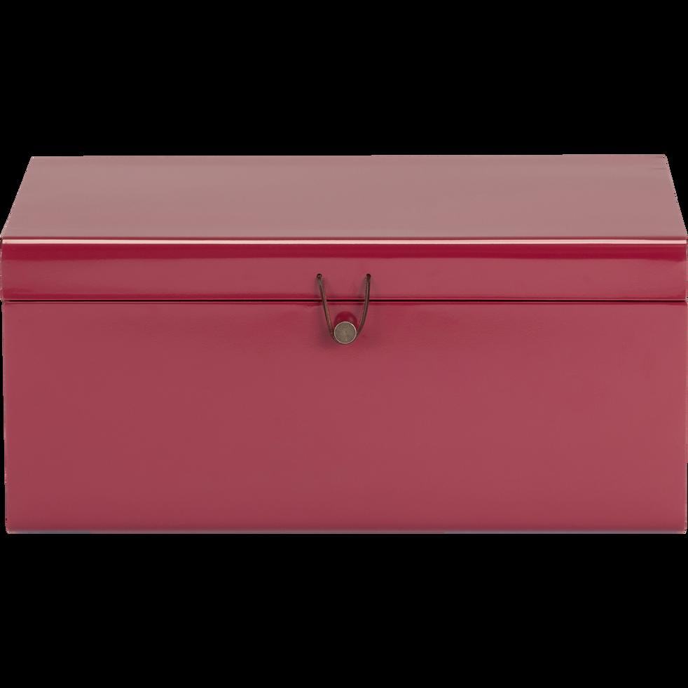 Malle de rangement en métal rouge l56xH25xP35cm-ALSA