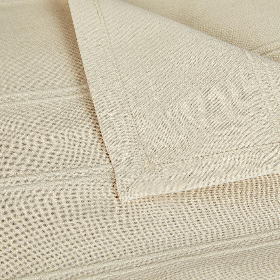 Plaid tissé en coton beige roucas 180x230cm-BELCODENE