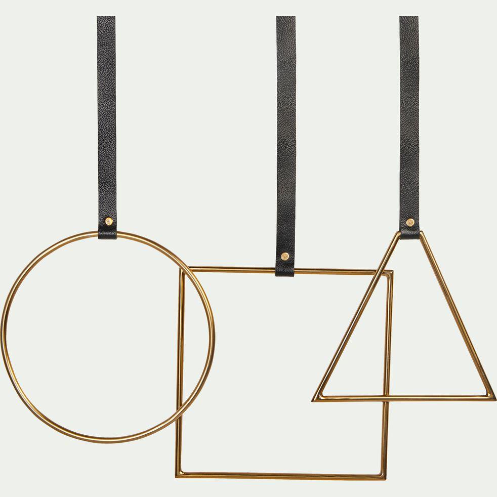 Patère carrée en métal et cuir - doré H54cm-CAMARET