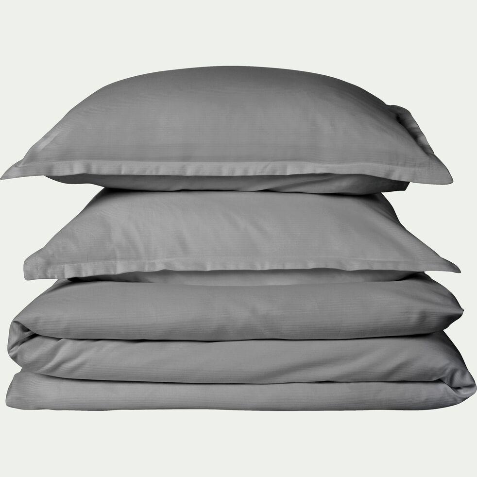 Lot de 2 taies d'oreiller rayées en satin - gris restanque 50x70cm-SANTIS