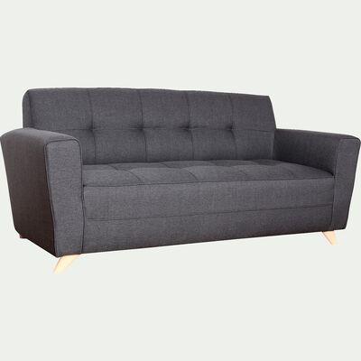 Canapé 3 places fixe en tissu - gris anthracite-VICKY