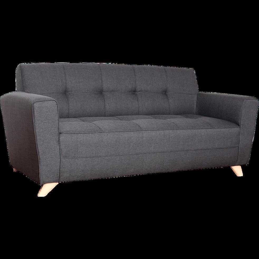 Canapé 3 places fixe en tissu anthracite-VICKY