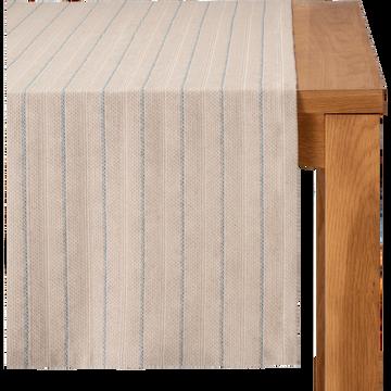 Chemin de table en lin et coton à motifs bleu figuerolles 50x150cm-NAIS