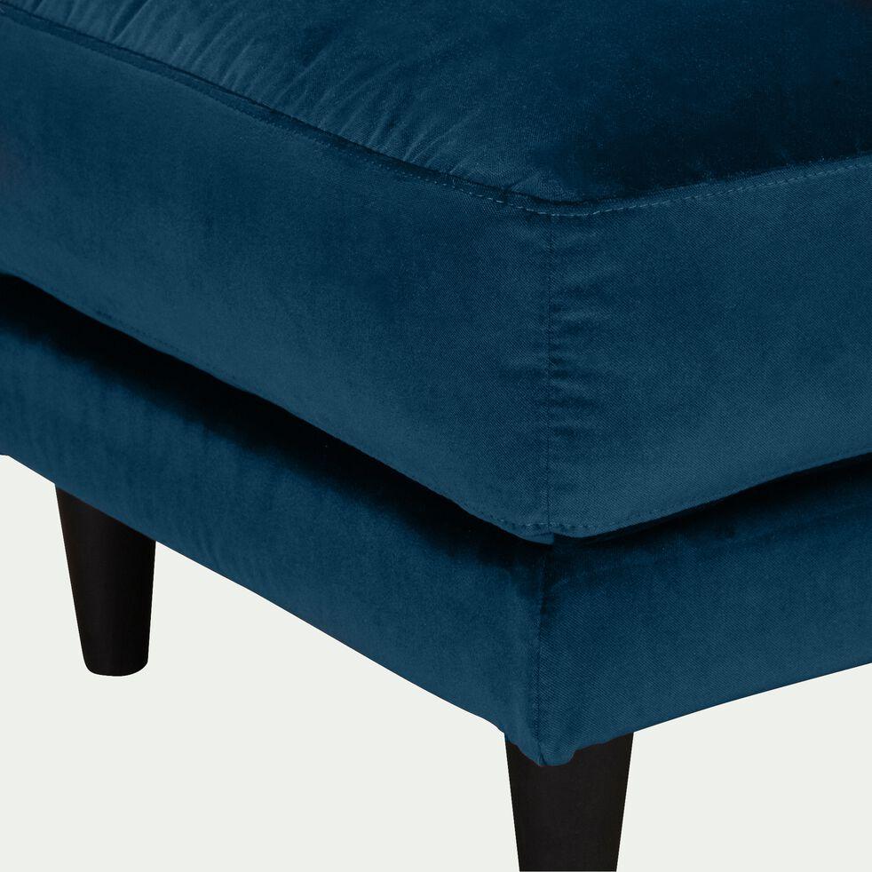 Pouf en velours - bleu figuerolles-LENITA