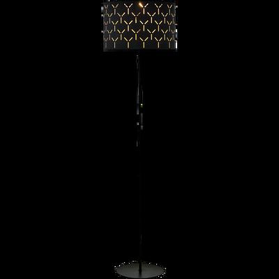 Lampadaire en métal et coton noir ajouré H145cm-AMBRA