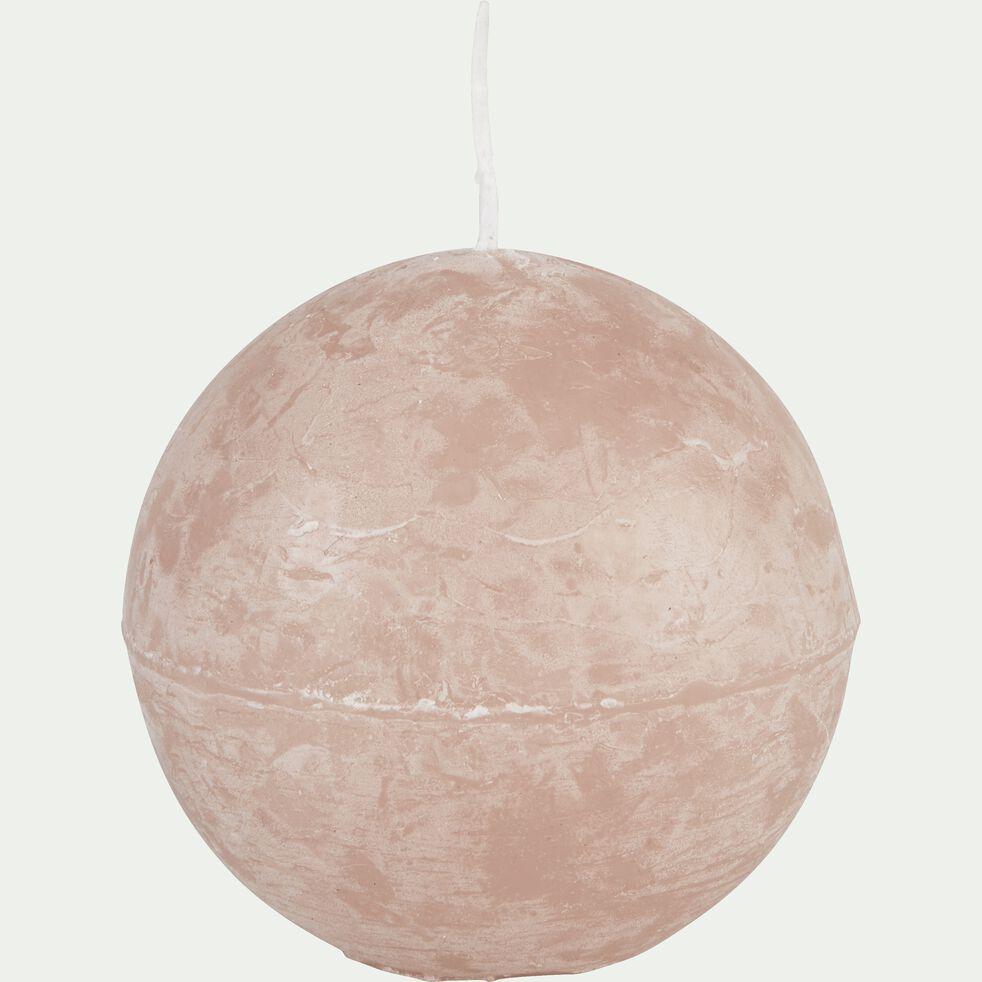 Bougie ronde rose grège D8cm-BEJAIA