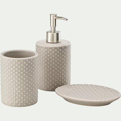 Set de salle de bain en céramique relief - beige alpilles-NARCISSE