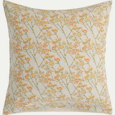 Housse de couette en coton 140x200cm et 2 taies d'oreillers avec motif fleuri jaune-FLEURI