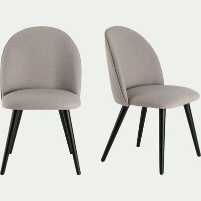 Chaise en tissu gris borie et pieds noirs-SERAPHINE