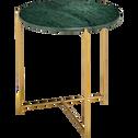Bout de canapé rond en marbre vert et pieds laiton-ANSE
