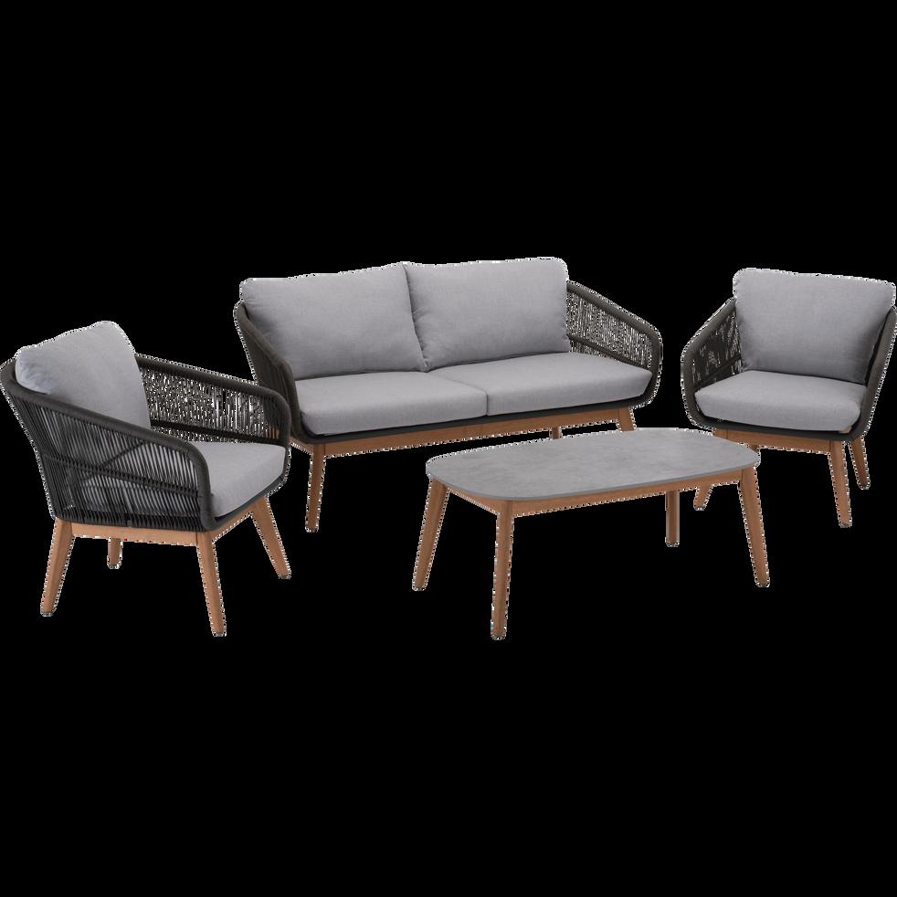 salon de jardin gris et noir 4 places mougins salons. Black Bedroom Furniture Sets. Home Design Ideas