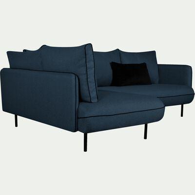 Canapé d'angle gauche fixe en tissu bleu figuerolles-SAOU