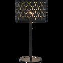 Lampe à poser en métal et coton noir ajouré H43cm-AMBRA