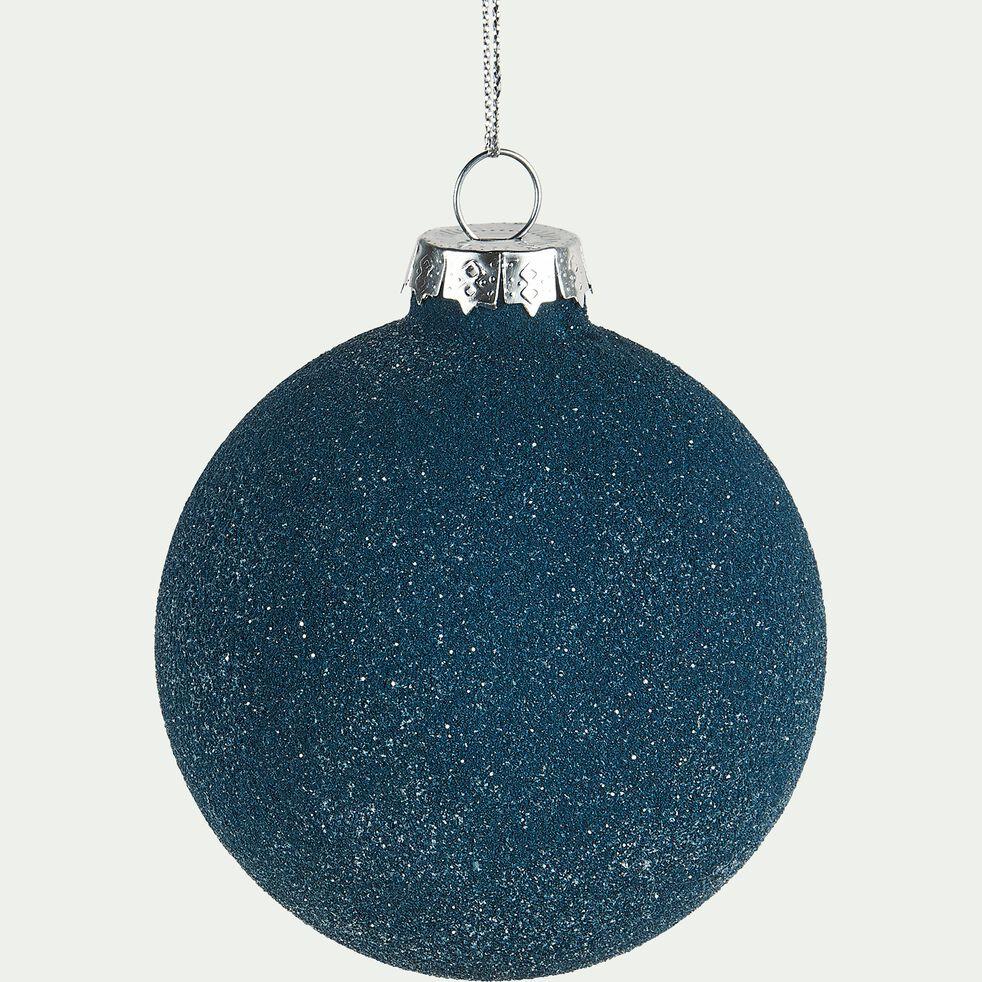 Boule de Noël en verre bleu D8cm-SIMPLON