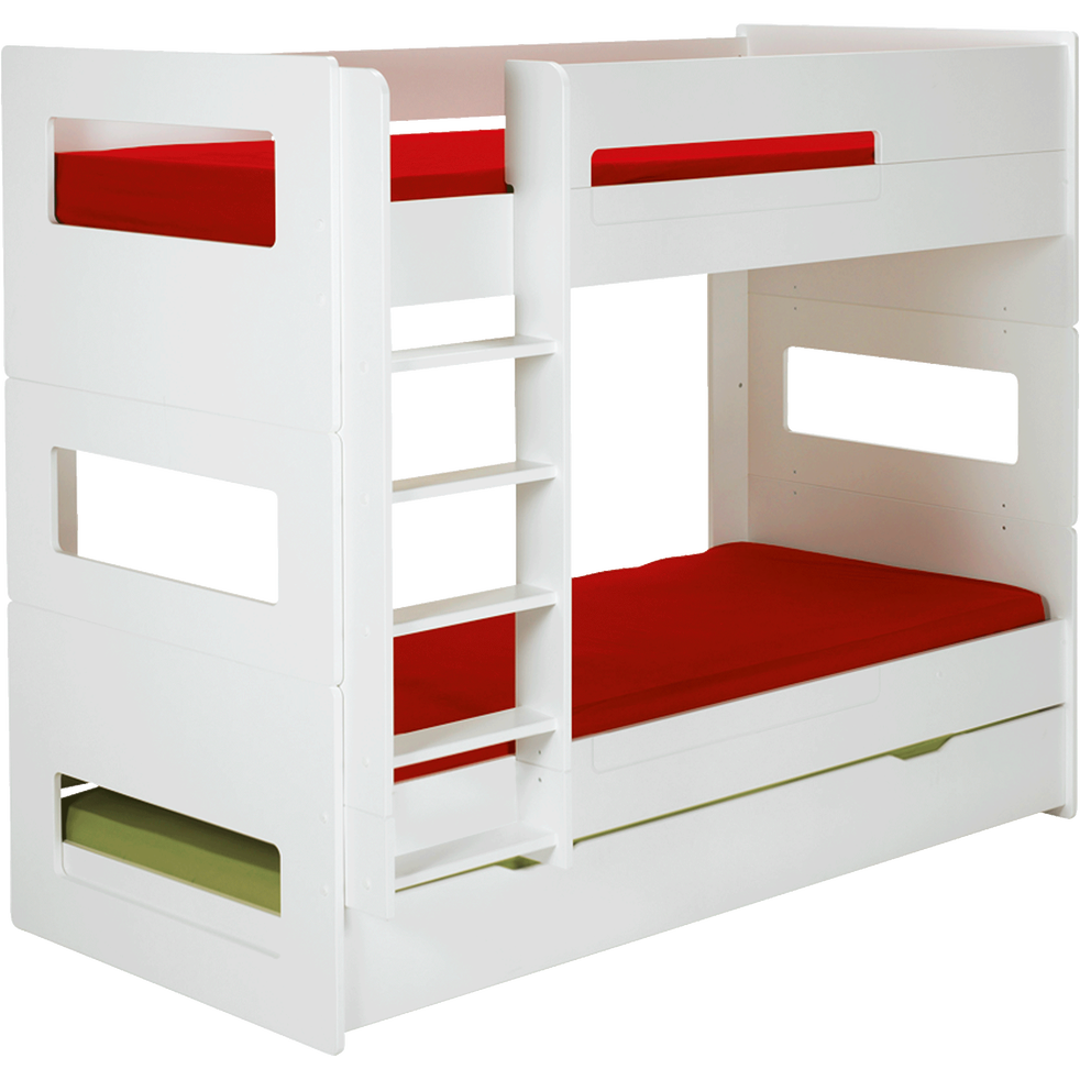 Lits superposés 1 place Blanc modulables - 90x200 cm-Astuce