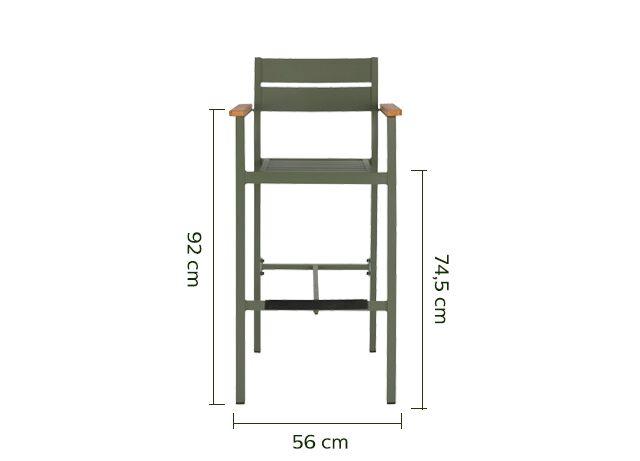 Chaise de bar en métal avec accoudoirs vert cèdre-ALEP