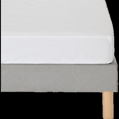 Drap housse en coton blanc 160x200cm bonnet 25cm-CALANQUES