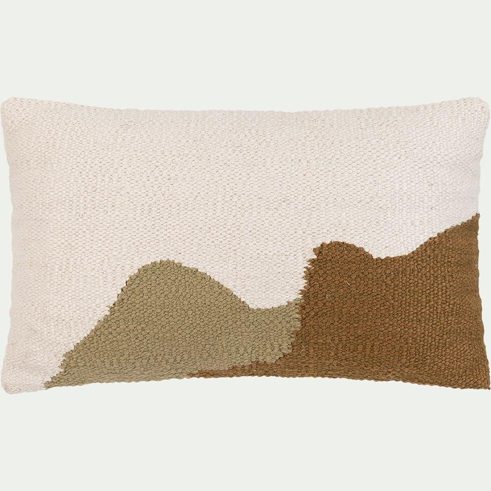 Coussin à motifs montagnes - Marron 30x50cm-MONTS ET VALLEES
