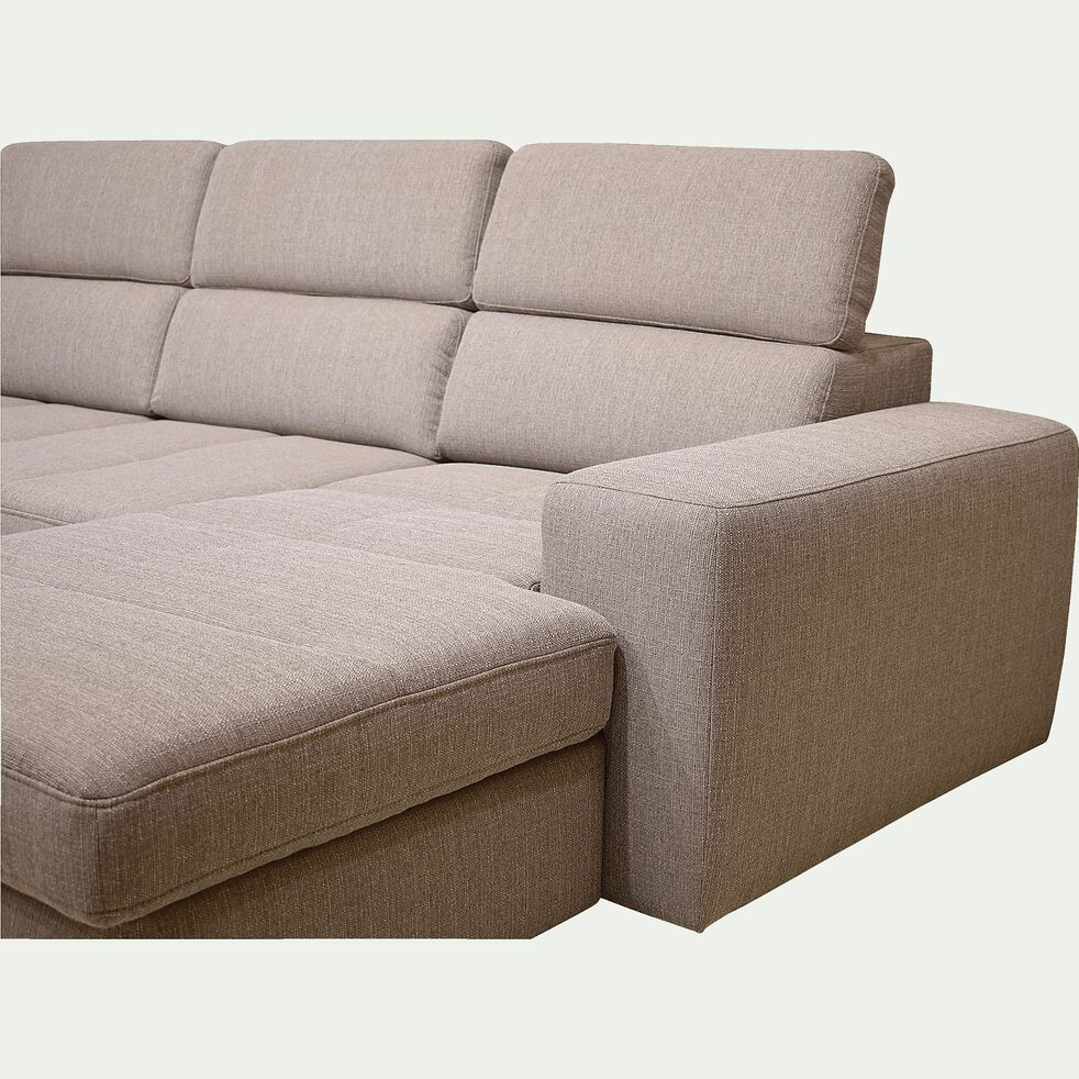 Canapé d'angle en U convertible avec méridienne à droite en tissu - grège-TONIN