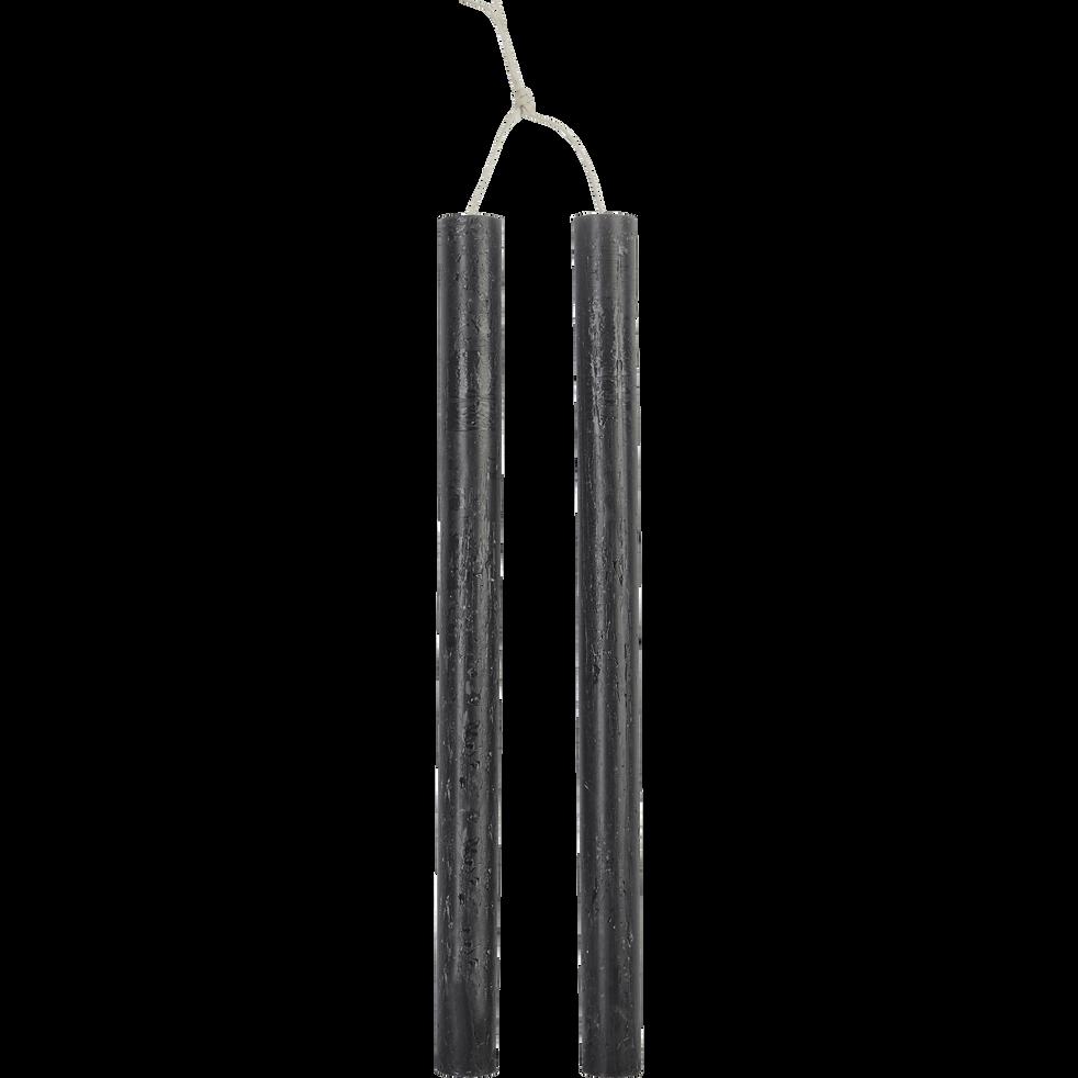 Bougie duo de flambeau gris calabrun H30cm-BEJAIA