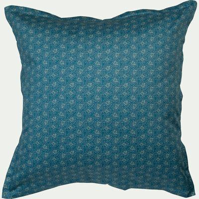 Lot de 2 taies d'oreiller en satin motif Jasmin - bleu 63x63cm-SOUN