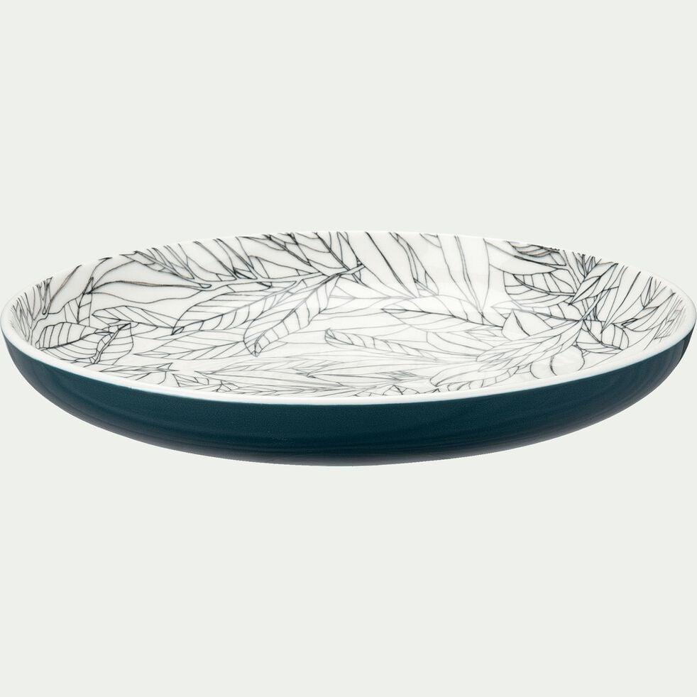 Assiette à dessert en porcelaine motifs laurier - bleu figuerolles D20cm-AIX