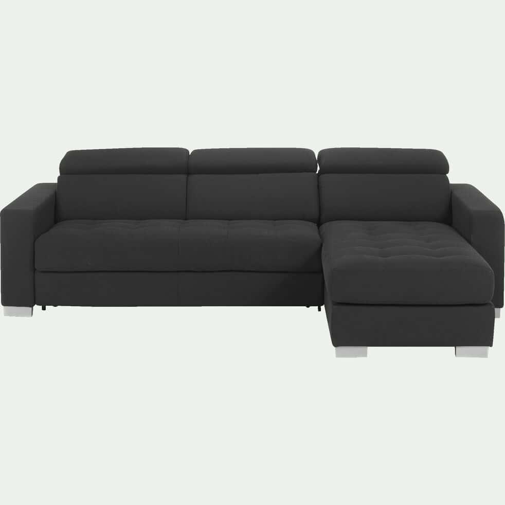 Canapé d'angle réversible convertible en tissu - gris foncé-Mauro
