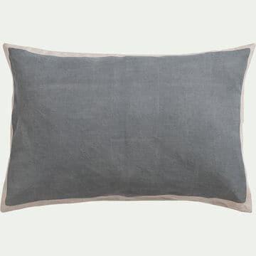 Coussin en lin et coton sérigraphié - gris 40x60cm-OTA