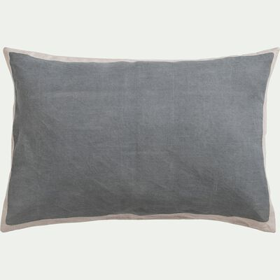 Coussin sérigraphié en lin et coton - gris 40x60cm-OTA