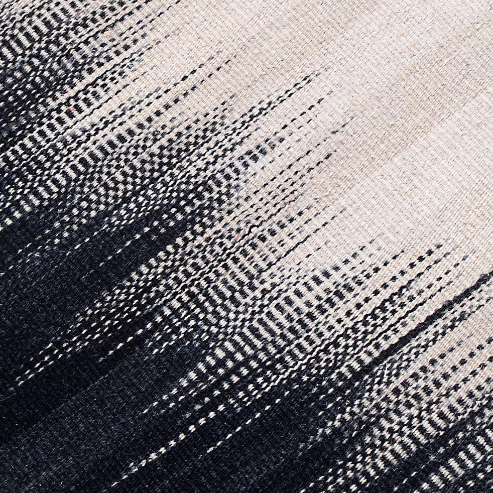 Tapis à motif en laine  - noir et blanc 100x160cm-IKAT