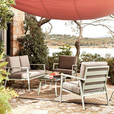 Canapé de jardin en aluminium - vert olivier (2 places)-RIMBAUD